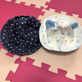 しまむら - ベビー 帽子 44㎝ 日除け付き クマ耳 2つセット