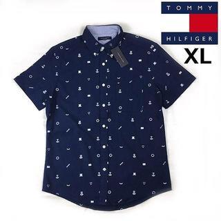 TOMMY HILFIGER - 売切!トミーヒルフィガー コットン100% 半袖シャツ(XL)紺190115