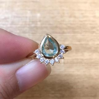 リング 指輪 CZ ダイヤ ブルートパーズ 14号 エテ アガット 好き♡(リング(指輪))