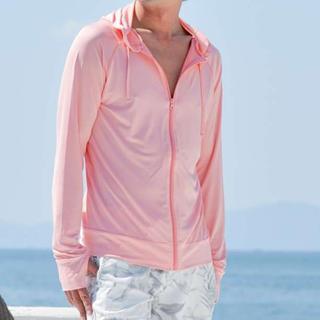 【XLサイズ】夏お勧めカラーメンズラフシュガード  ピンク