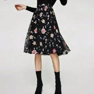 ZARA - 美品☆ZARA ザラ フラワー 刺繍 チュールスカート☆花柄