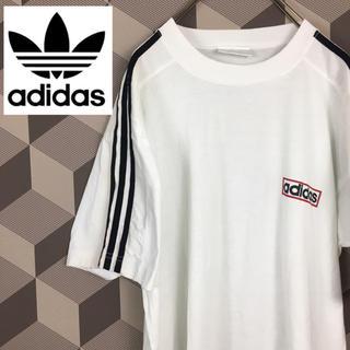 adidas - 【アディダス】ロゴプリント ライン入り ビッグシルエット Tシャツ Lサイズ