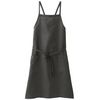 MUJI (無印良品) - 新品   無印良品  麻平織 肩クロスエプロン 墨黒