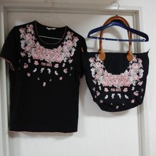 ピンクハウス(PINK HOUSE)の再お値下げ❗ピンクハウスの薔薇プリントのTシャツと肩かけバッグ(セット/コーデ)