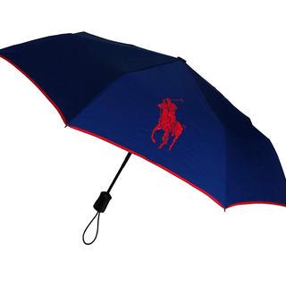 ポロラルフローレン(POLO RALPH LAUREN)のポロ ラルフローレン ネイビー ポニーロゴ 折りたたみ傘 ワンタッチ 新品(傘)