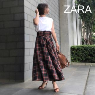 ZARA - 【ザラ/ZARA】タータンチェックマキシ丈フレアスカート