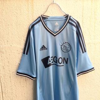 adidas - プレミアリーグ! AJAX アンブロ サッカー ゲームシャツ 白 ブルー S