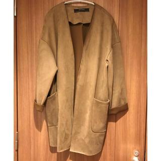 ザラ(ZARA)のザラ:ブラウン、茶色 スエード素材風アウター、羽織り(ガウンコート)