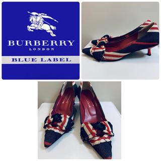 バーバリーブルーレーベル(BURBERRY BLUE LABEL)のバーバリーブルーレーベル  ネイビーキャンバス  パンプス(ハイヒール/パンプス)