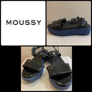 moussy - マウジー ブラックエナメル  サンダル