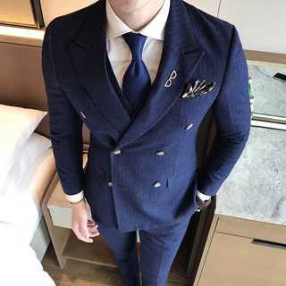 スーツメンズセットアップダブルボタン人気細身披露宴藍 OT105