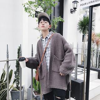 韓国ファッション メンズ カーディガン カジュアル トップス