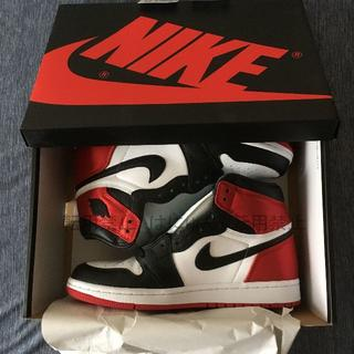 ナイキ(NIKE)のNIKE WMNS Air Jordan 1 SATIN BLACK TOE(スニーカー)