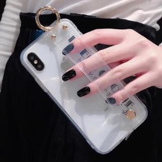 【全品セール中★新品】クリア ベルト付 iPhoneケース【iPhone X】