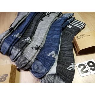 (29)3色6足組メンズニューバランスノンパイルスニーカーソックス綿混紳士サイズ
