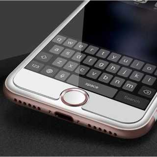 スマホ ホームボタンシール 白 ピンク アルミ Apple商品対応 指紋認証