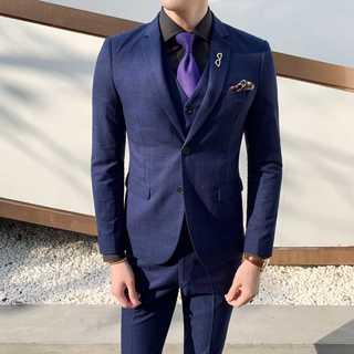 メンズスーツセットアップ人気ホスト定番ビジネス司会者紳士服ブルー OT064