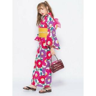 グレイル(GRL)の昭和 レトロ モダン 椿 浴衣 4点セット(浴衣)