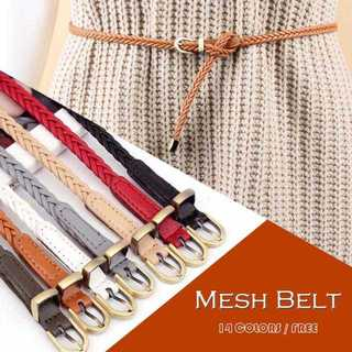【新品】メッシュベルト 編み込み ウエストマーク 細身 バックル レザーベルト
