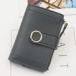 ブラック レディース PUレザー 二つ折り ウォレット 上品 折りたたみ 財布