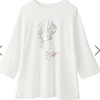 新品 未開封 ガールプリント 七分丈 Tシャツ