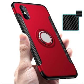 【レッド】iPhone Xs/X 落下防止バンカーリング付ケース スタンド
