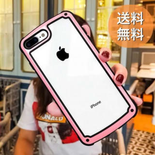 ♡iPhoneケース♡ 透明 背面 色フレーム 韓国風クリアケース♪♪