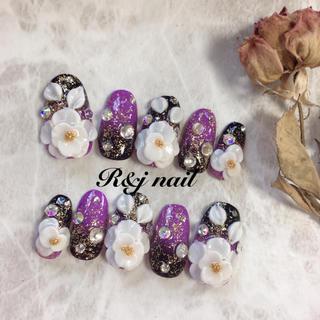 和風♡紫黒グラデ♡3Dお花♡ラメ♡ネイル
