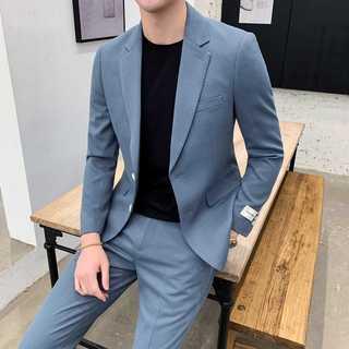 メンズスーツセットアップ大人気ホスト定番ビジネス司会者紳士服ブルー OT067