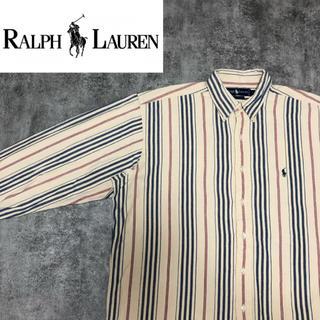 Ralph Lauren - 【激レア】ラルフローレン☆ワンポイント刺繍ロゴ入りマルチストライプシャツ 90s