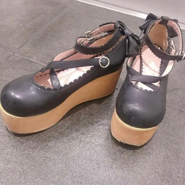 BABY,THE STARS SHINE BRIGHT(ベイビーザスターズシャインブライト)のBABY 靴 パンプス 黒 リボン ロリータ ロリィタ 23.5 M レディースの靴/シューズ(サンダル)の商品写真