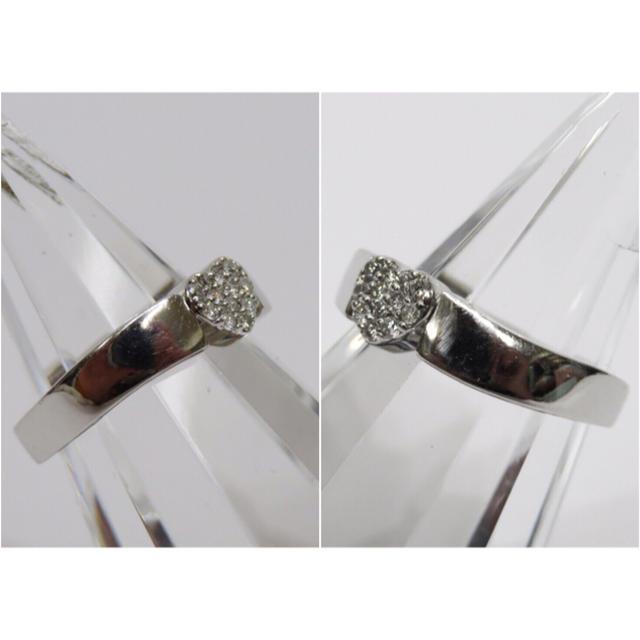 PonteVecchio(ポンテヴェキオ)のポンテヴェキオ K18WG ダイヤモンド0.12ct ハートパヴェリング レディースのアクセサリー(リング(指輪))の商品写真