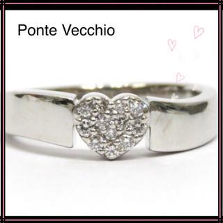 PonteVecchio - ポンテヴェキオ K18WG ダイヤモンド0.12ct ハートパヴェリング