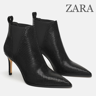 ZARA - 新品タグ付き★ZARA アニマル柄ヒールアンクルブーツ