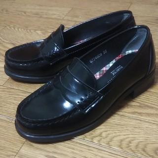 ハルタ(HARUTA)のHARUTA ◇ ローファー 黒 22cm ブラック チェック ハルタ(ローファー/革靴)