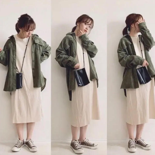 しまむら(シマムラ)のしまむら プチプラのあや コーデュロイシャツ カーキ M レディースのジャケット/アウター(その他)の商品写真