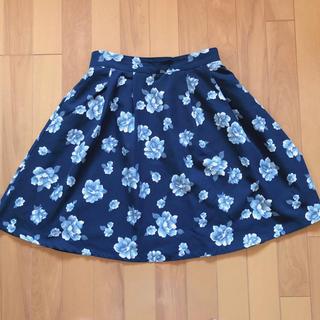 ハニーズ(HONEYS)の【最終値下げ】花柄スカート (ネイビー)(ひざ丈スカート)