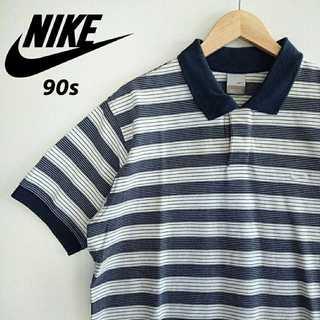 ナイキ(NIKE)の698 90s NIKE 銀タグ 胸刺繍 ボーダー ポロシャツ ネイビー(Tシャツ/カットソー(半袖/袖なし))