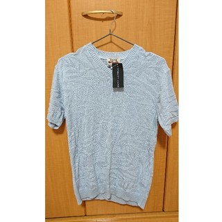 ニットTシャツ 新品未使用品☆ROTH 水色(Tシャツ/カットソー(半袖/袖なし))