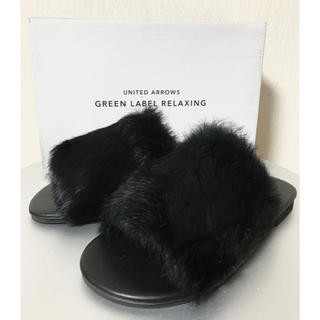 green label relaxing - 【未使用】green labelrelaxing 秋冬 ファー サンダル