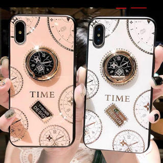 時計柄 リング付きiphone x xsケース  ホワイト