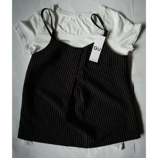 GU - 新品★guGUジーユー フロントタックチェックキャミソール 白黒