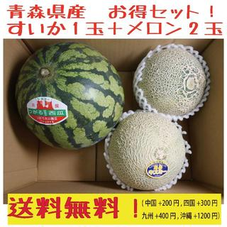 青森県産 お得セット! すいか3kg+メロン(キスミー)2玉(2-2.5kg)