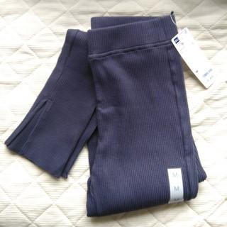 GU - 【夏物セール】未使用 gu リブスリットレギンスパンツ ブルー Mサイズ