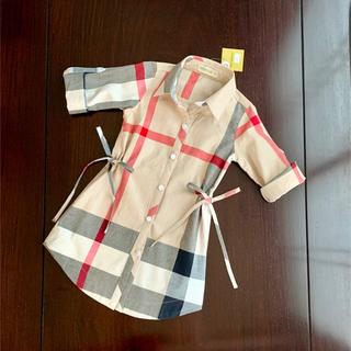 ダッブル リボン 七分袖 ベージュ チェック ワンピース チュニック 羽織り(ワンピース)