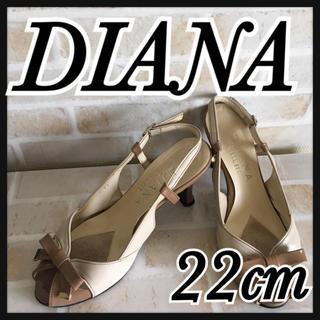 ダイアナ(DIANA)のダイアナ サンダル DIANA オープントゥ ベージュ リボン付き 22(サンダル)