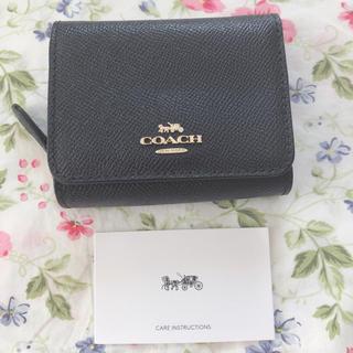 COACH - 【新品未使用】コーチ COACH レザー ミニ財布 パスケース付 ネイビー