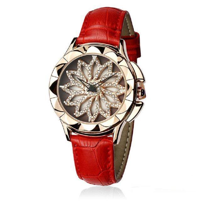 ぐるぐる時計 グルグル 文字盤が回る ラグジュアリー レザー 腕時計 赤の通販 by gra i's shop9/4-11発送お休みとなります。|ラクマ