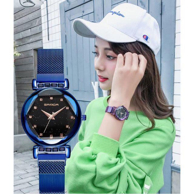 新作 ラメ入り キラキラ 腕時計 星空フェイス メッシュスチールベルト 青の通販 by gra i's shop9/4-11発送お休みとなります。|ラクマ