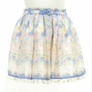 リズリサ(LIZ LISA)のLIZ LISA☆美品♪グログランリボン&裾レース*シアー花柄フレアスカパン(キュロット)
